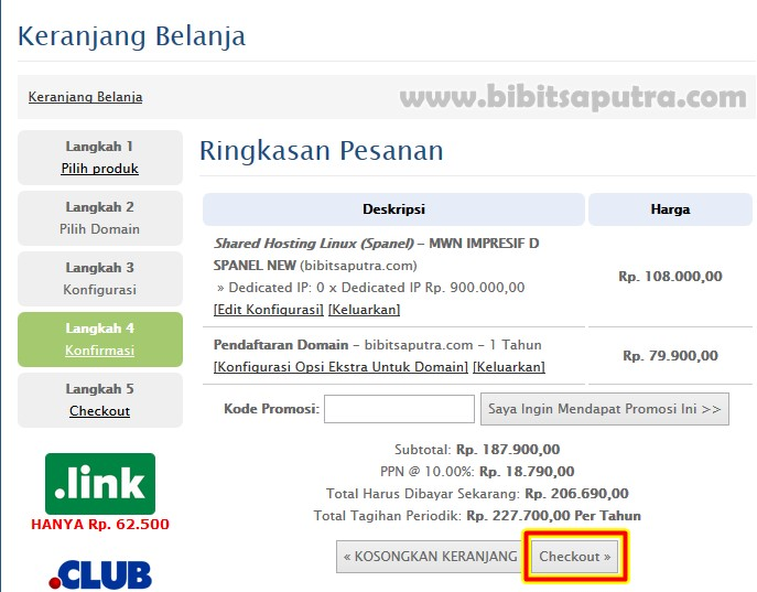 Checkout beli nama domain com