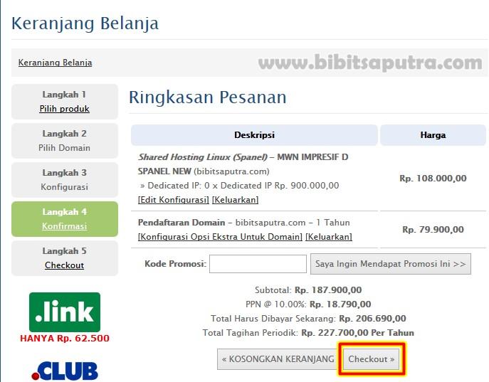 Checkout beli nama domain com