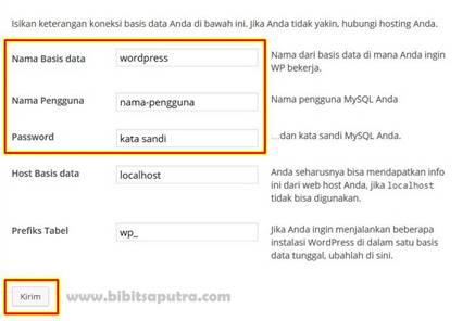 Pengaturan Basis Data Instalasi Blog WordPress