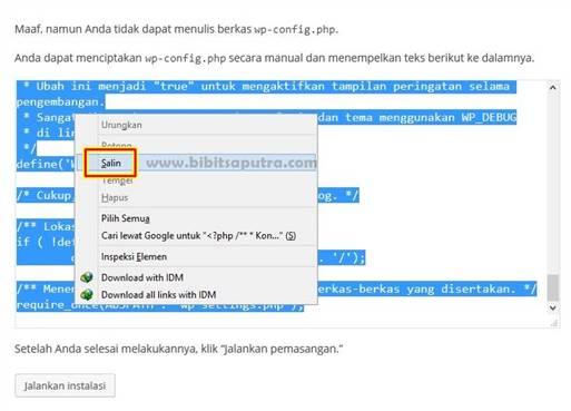 Masalah config.php saat pemasangan WordPress sendiri