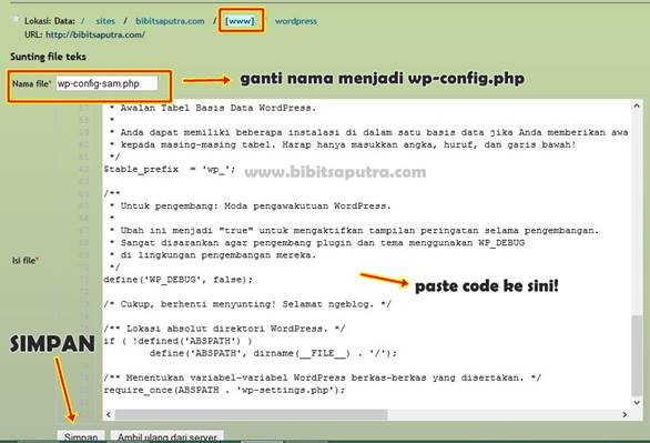 Cara ganti isi wp-config.php