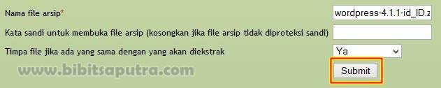 Ekstract file wordpress .zip web host