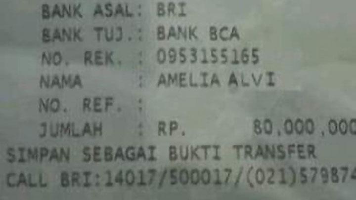 Gambar Bukti Transfer Amelia Alvi Sebesar Rp 80 Juta