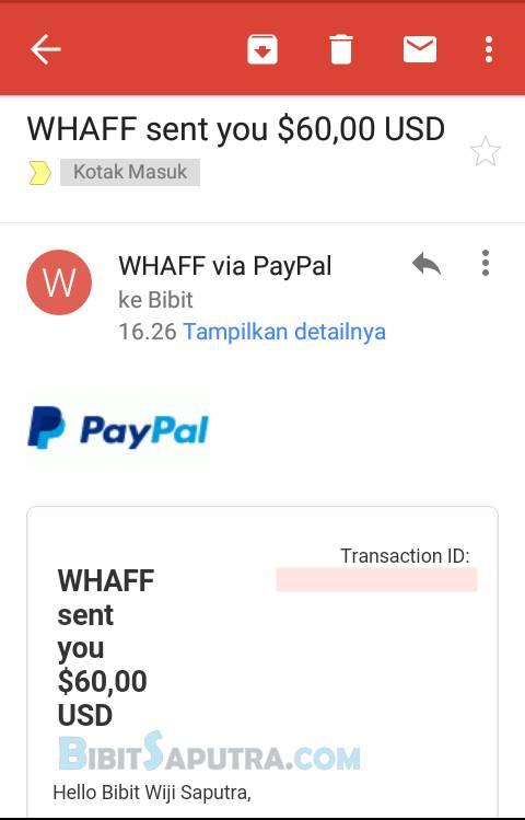 Bukti Pembayaran WHAFF @ Email