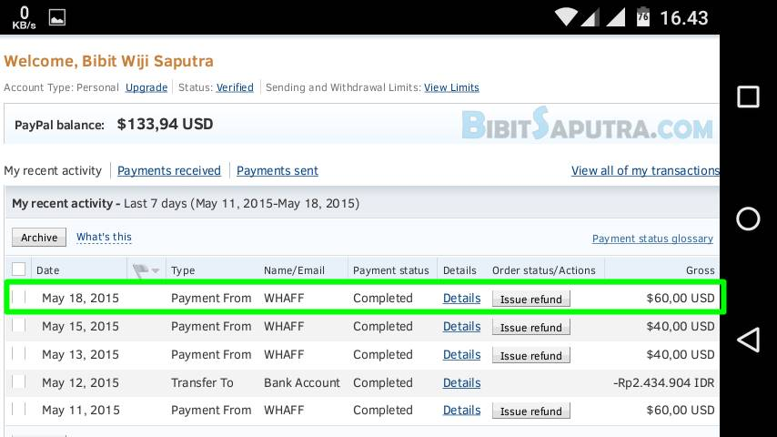 Bukti Pembayaran WHAFF Masuk PayPal
