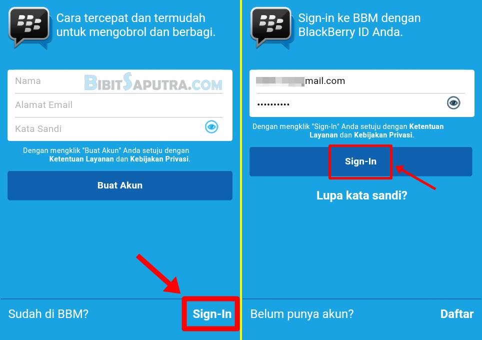 cara sign in bbm android 1