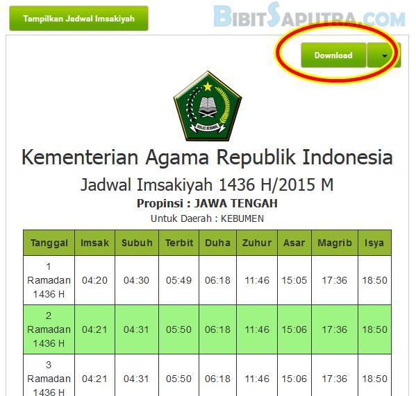 Jadwal Puasa Ramadhan Kebumen 2015