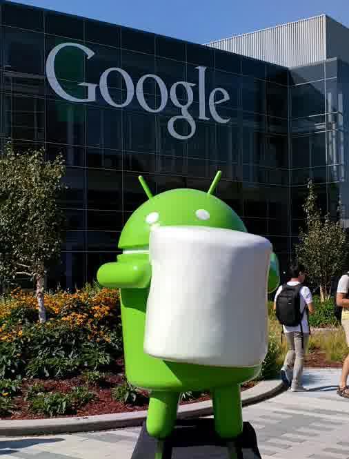 Patung Android Marshmallow di Depan Kantor Google