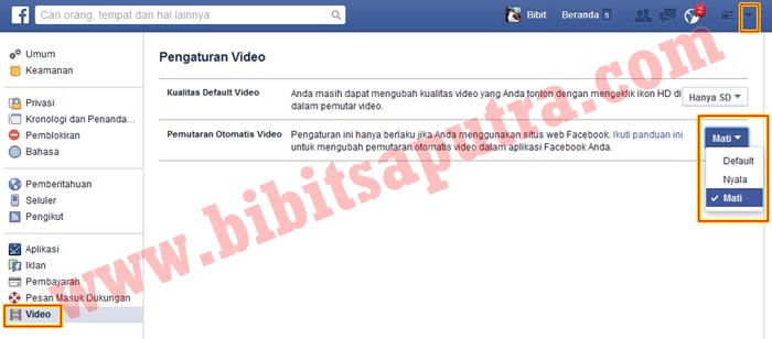 Nonaktifkan Otomatis Memutar Video Facebook 2