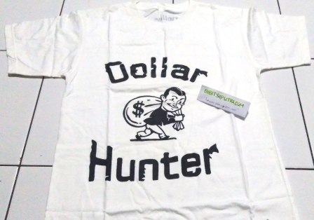 Kaos Dollar Hunter Putih DEPAN